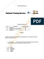 NTS GAT Test Sample Paper of Pharmacy