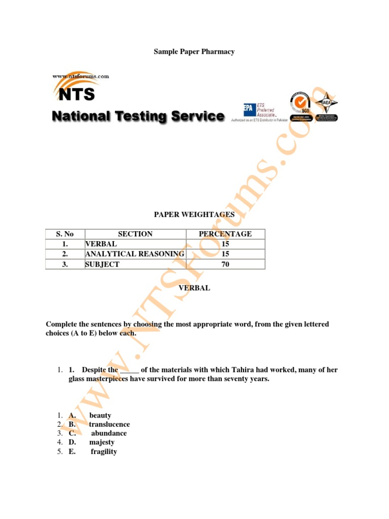 NTS GAT Test Sample Paper of Pharmacy | Humanities | Test