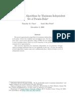 W_indep Independent Set Algorithm