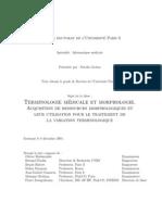 These Terminologie Et Morphologie