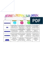 Author's Purpose Blog Rubric