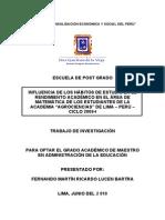 INFLUENCIA DE LOS HÁBITOS DE ESTUDIO EN EL