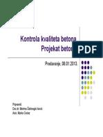 Kontrola kvaliteta betona Projekat betona [Način kompatibilnosti]