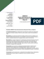 UNESCO - Carta Internacional de La Educacion Fisica y El Deporte