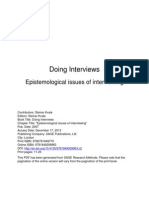 Epistemological Issues of Interviewing