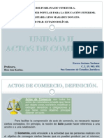 Unidad II Actos de Comercio, Derecho Mercantil.