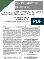 DS 005-2012-TR Reglamento Ley 29783 LSST