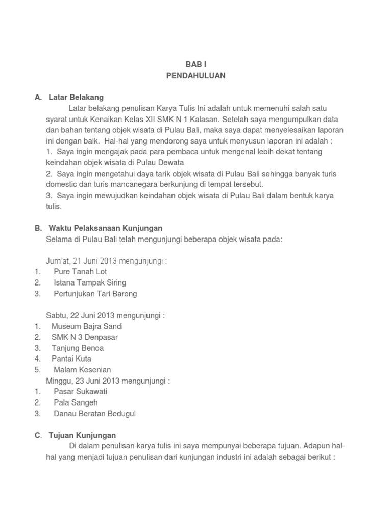 Contoh Laporan Study Tour Bali