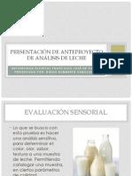 Presentación de anteproyecto de análisis de leche