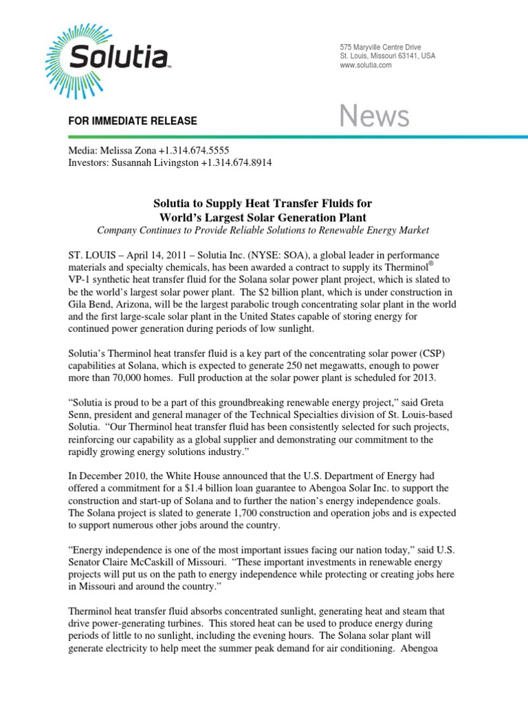 Solutia to Supply Heat Transfer Fluids for World's Largest