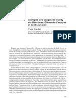Reuter Yves (2006) a Propose Des Usages de Goody en Didactique