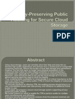 Privacy-Preserving Public Auditing for Secure Cloud Storage