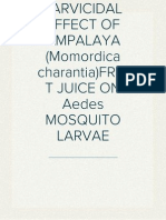 LARVICIDAL EFFECT OF AMPALAYA (Momordica charantia) FRUIT JUICE ON Aedes MOSQUITO LARVAE