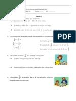 Ficha avaliação Expressoes e Proporcoes