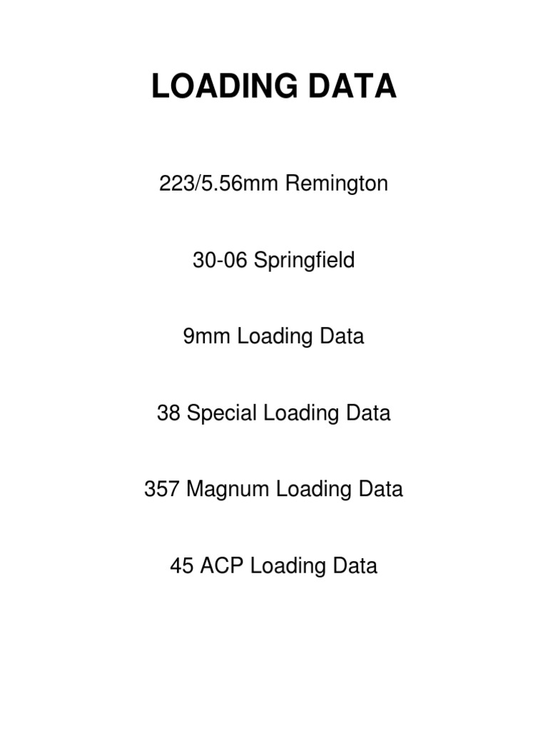 Modern Loading Data 9mm, 45 acp, 30-06  223  357 magnum | Cartridge