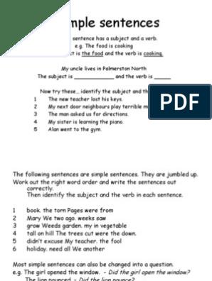 simple sentences | Clause | Sentence (Linguistics)