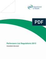 Performers Lists 2013 Consultation Document