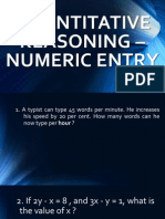 Quantitative Reasoning - Numeric Entry