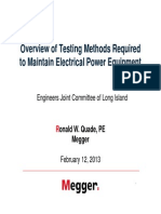 MEGGER Testing Methods Required to Maintain Electrical Equipment