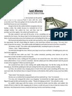 Lost Money Fourth Grade Reading Comprehension Worksheet