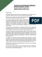 Protocolo Del Acto de Presentacion Del Pregon y Presentacion Del Cartel de Semana Santa Albox 2014
