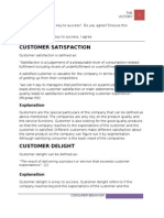 Customer Delight is a Key to Success (the Assignment)