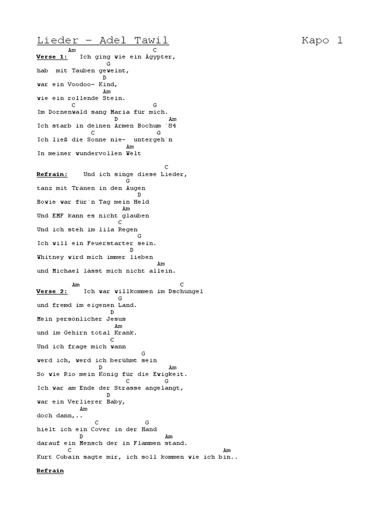 Lieder Adel Tawil Text