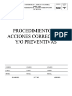 Procedimiento Acciones Correctivas Preventivas