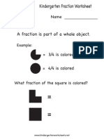 Kindergarten Fraction Worksheet
