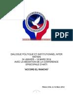 Accord sur le dialogue inter-haitien El Rancho, Vendredi 14 mars 2014