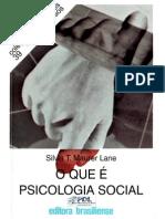 Livro - O que é psicologia social - silvia lane