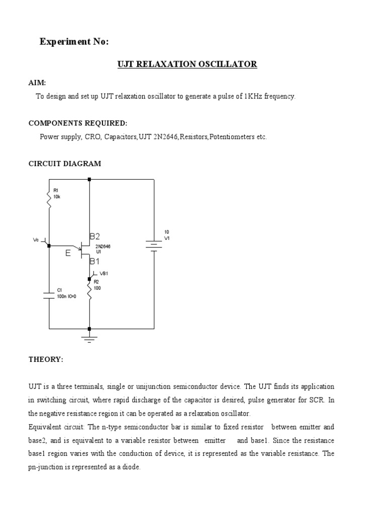 Ujt Relax Electronic Oscillator Capacitor Basic Phase Shift 1khz