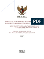 Regulation of MoT No. 04/M-Dag/Per/1/2014 Indonesia Export of Processed and Refined/Smelted Mining Products