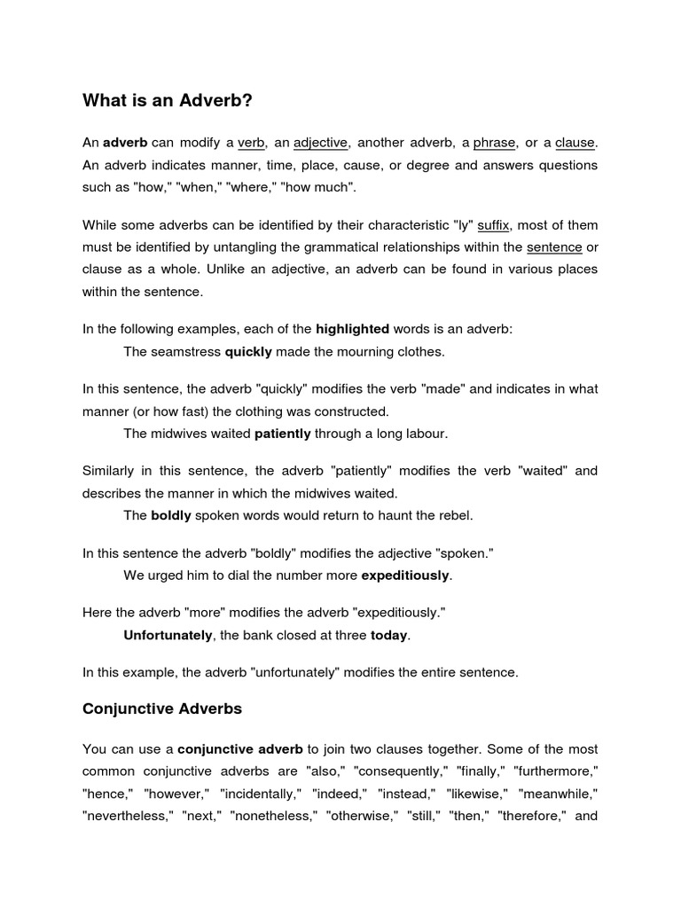 Adverb – Conjunctive Adverbs Worksheets