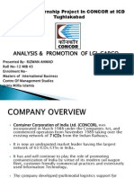 Summer Internship Project In CONCOR at ICD Tughlakabad ON ANALYSIS &  PROMOTION  OF LCL CARGO