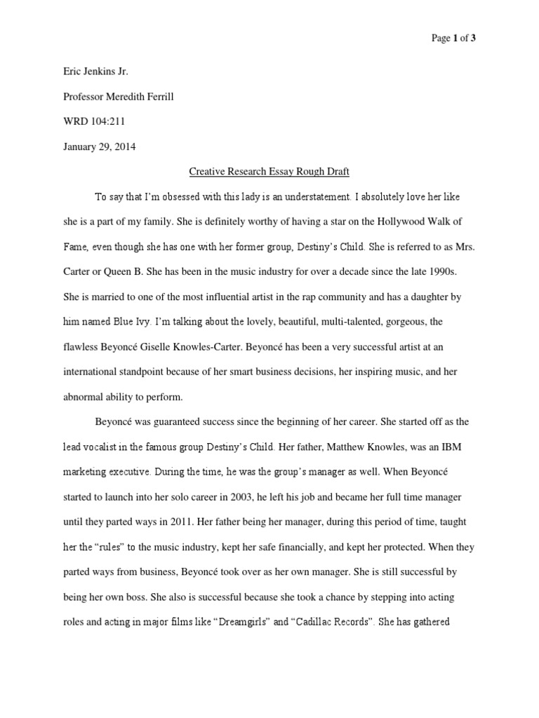 beyonce creative research paper rough draft beyonc eacute