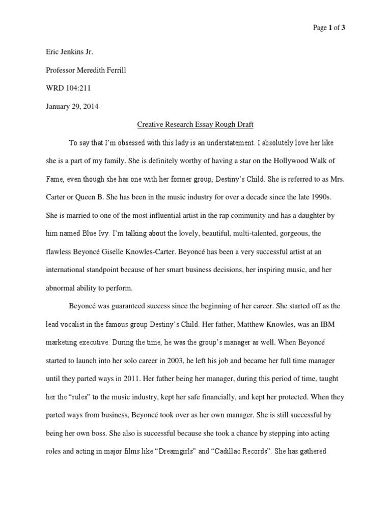 beyonce creative research paper rough draft beyonc eacute
