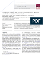 A psychometric evaluation of the Personality Assessment Inventory – short form clinical scales in an inpatient psychiatric sample