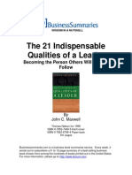 John Maxwell Business Summaries - The 21 Indispensable Qualities of a Leader, 2002