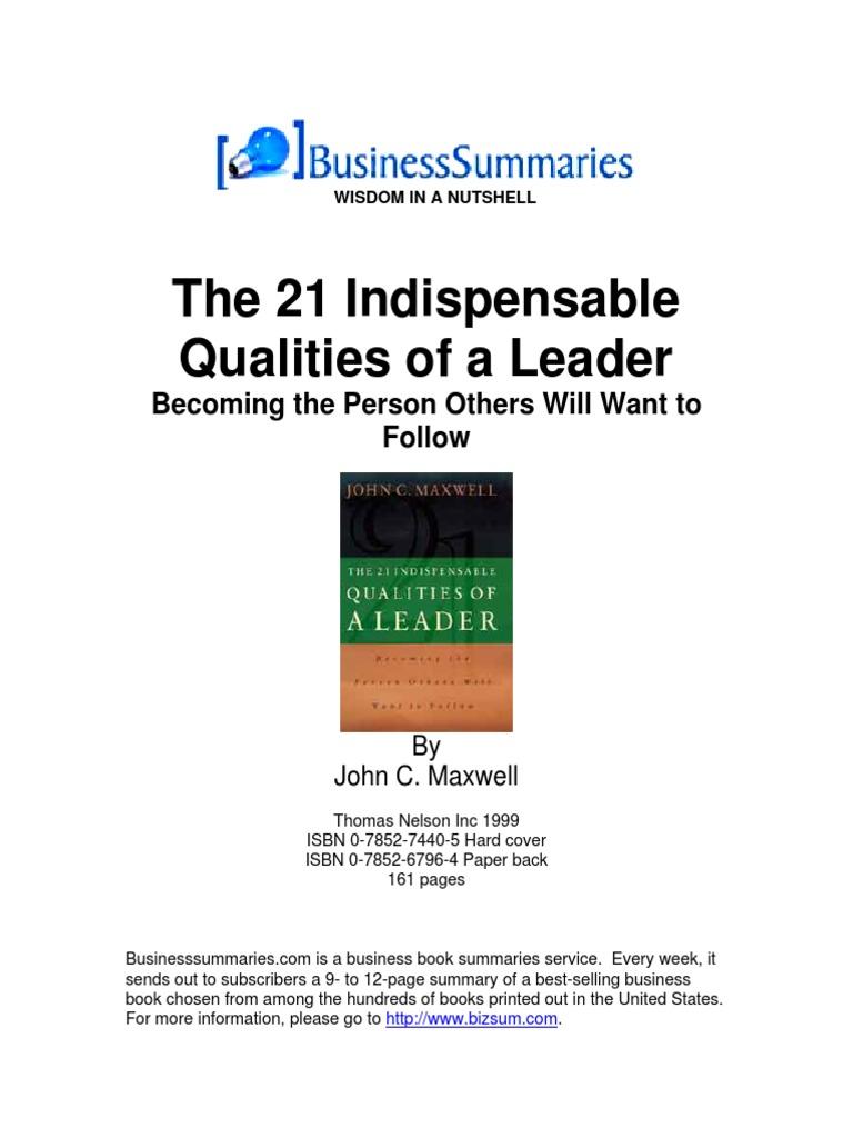 21 indispensable qualities summary