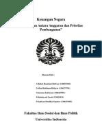 Kesesuaian Antara Anggaran Dan Prioritas Pembangunan