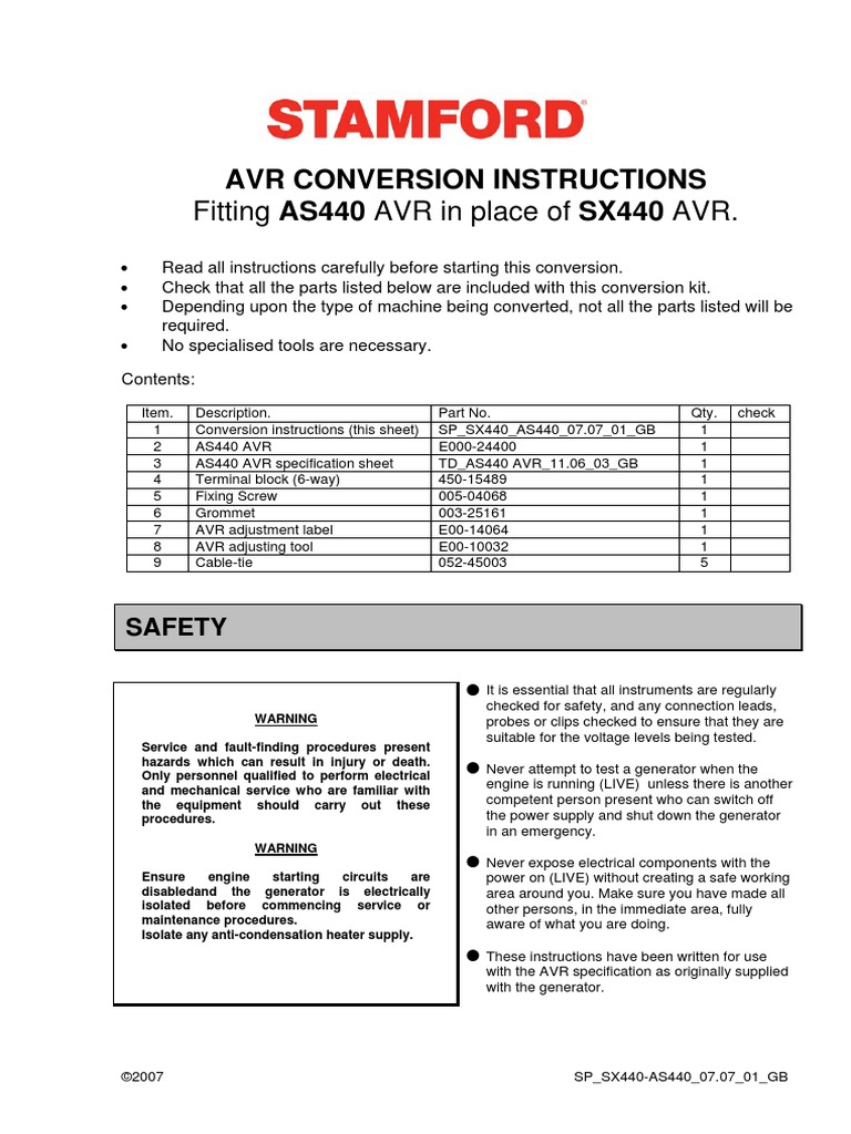 Stamford Avr As440 Wiring Diagram Free Download Lincoln P203 Conversion A Sx440 Electrical Equipment
