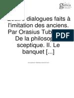 La Mothe le Vayer, F. de - Quatre dialogues faits à l'imitation des anciens (tome I)