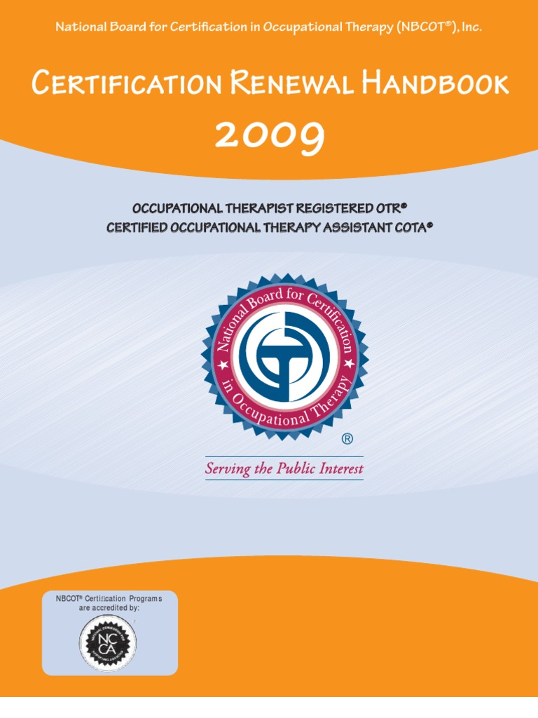 Form certification renewal handbook 2009 occupational therapy form certification renewal handbook 2009 occupational therapy credential xflitez Choice Image