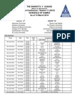 Schedule - Prelims - As of 16 Mar 14