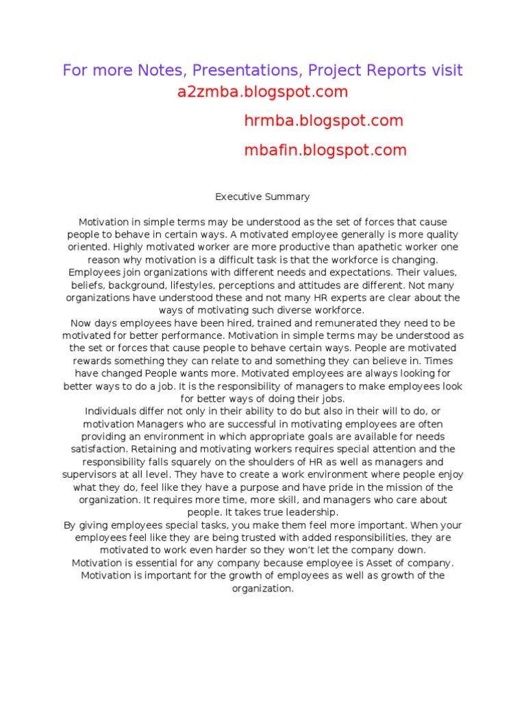 Dissertation report on employee motivation
