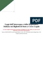 Leggi dell'Interregno e della Repubblica Italiana sui Biglietti di Stato a Corso Legale