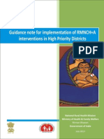 Guidance Note for Implementation of RMNCH+A Interventions in High Priority Districts