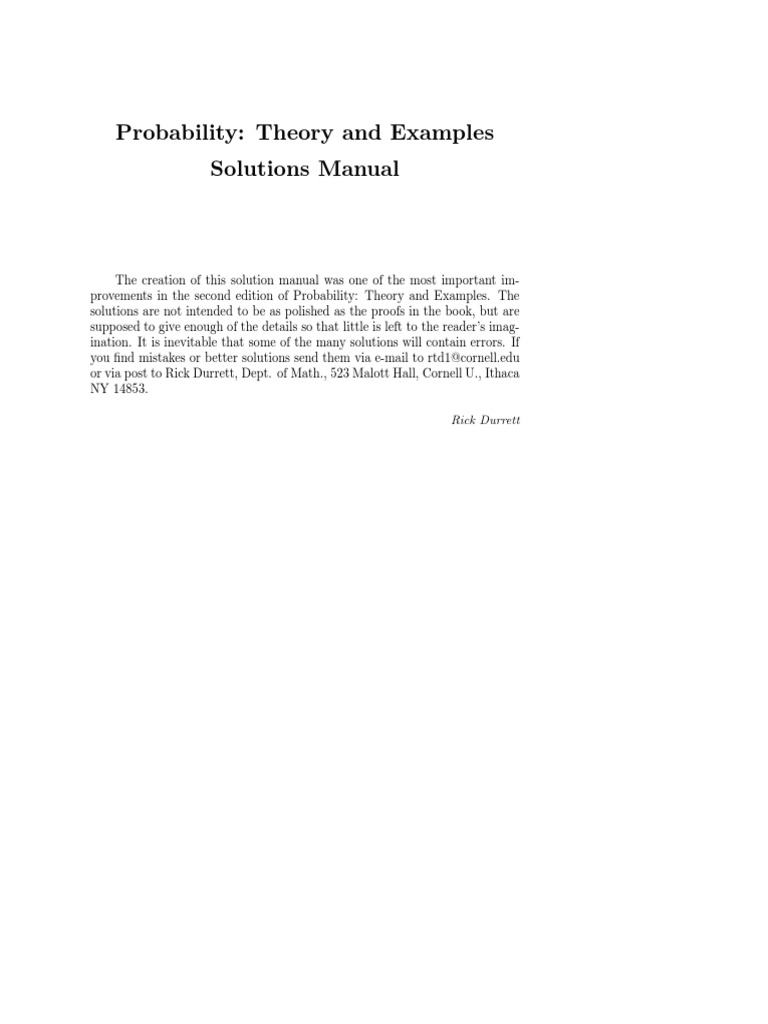 Durrett Probability Theory and Examples Solutions PDF | Measure Theory |  Analysis