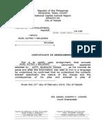 Certificate of Arraignment